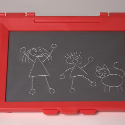 A picture of the red intact sketchpad with tactile drawing on it