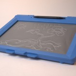 Blue inTACT sketchpad with tactile illustration of a flower