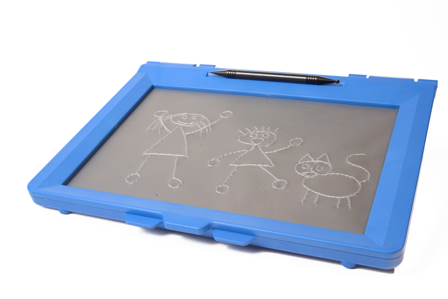 A angle view of a blue intact sketchpad with a drawing of two stick figures and a cat