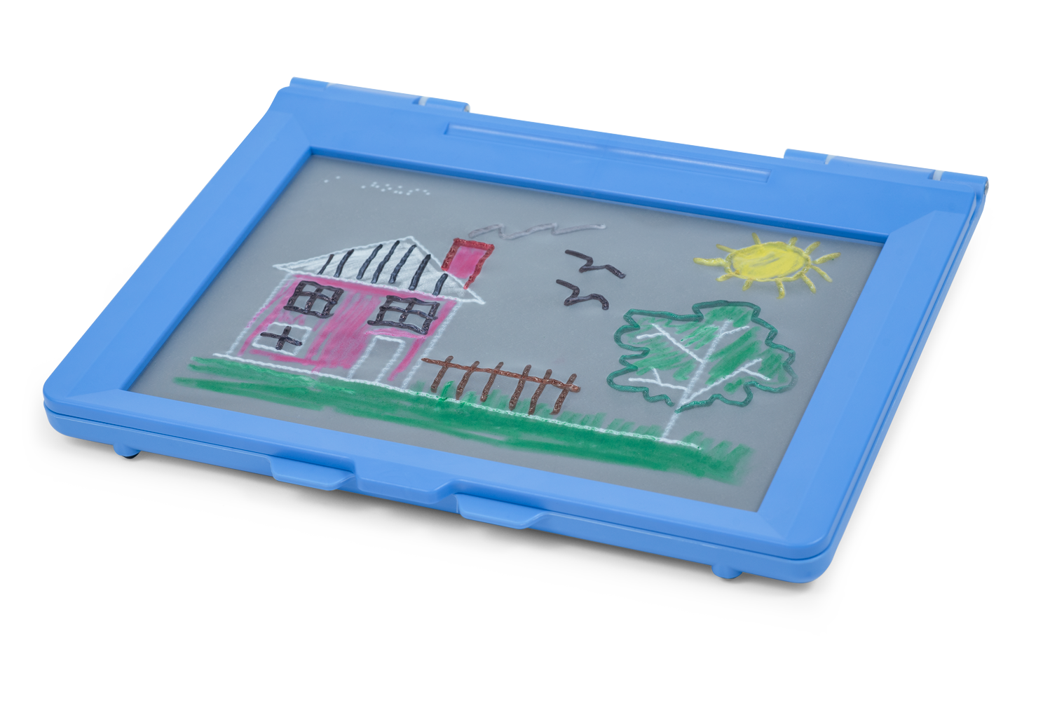 Picture of a completed Interactive Tactile Drawing of a House, Tree and Sun